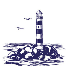 Lighthouse and sea landscape hand drawn vector