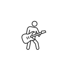 line guitarist black icon on white background vector image