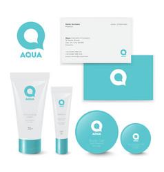 Logo aqua q cosmetics beauty packaging vector
