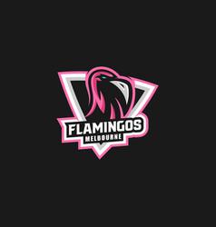 Logo flamingo e sport and sport style vector