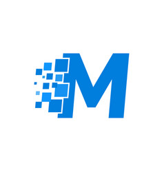logo letter m blue blocks cubes vector image