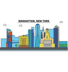 Manhattan new york city skyline architecture vector