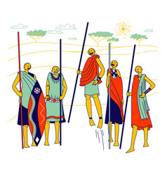 masai characters african men and women from vector image