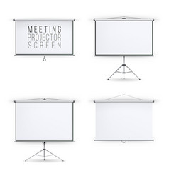 Meeting projector screen set white board vector