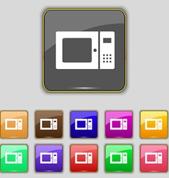 microwave icon sign Set with eleven colored vector image