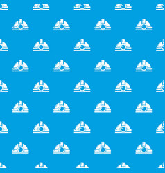 mining helmet pattern seamless blue vector image