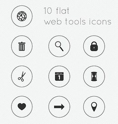 Modern flat icons collection of web tools theme vector image