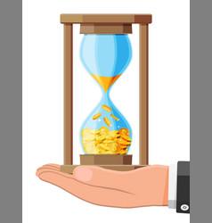 money in hourglass clock in hand vector image
