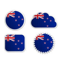 New Zealand flag labels vector image