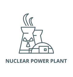 Nuclear power plant line icon linear vector