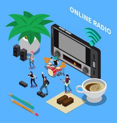 online radio isometric composition vector image