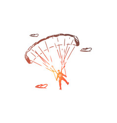 parachutist extreme skydiving sport fly vector image