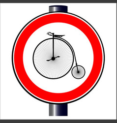 Penny farthing traffic sign vector
