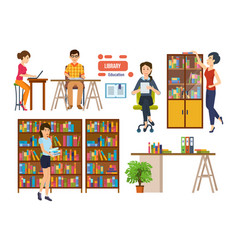 People with books in library picks up material vector