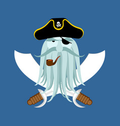 pirate logo head of buccaneer and sabers pirate vector image