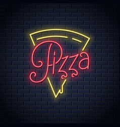 pizza neon logo on wall background vector image