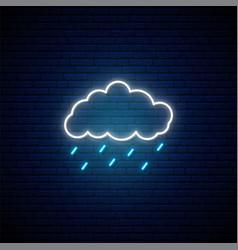 Rainy weather neon sign glowing neon vector