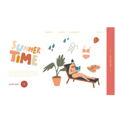 Reading spare time landing page template woman vector