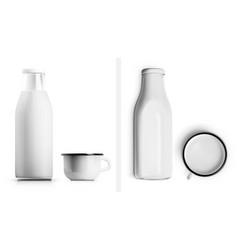 realistic glass milk bottle and enamel metal vector image