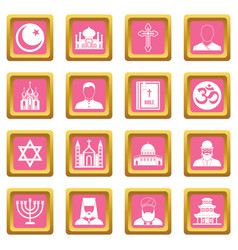 religious symbol icons pink vector image