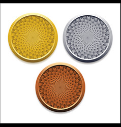 Round empty medals of gold silver bronze vector
