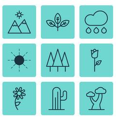 Set 9 harmony icons includes forest sun oak vector
