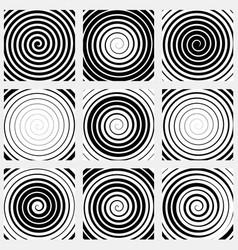 Set of 9 spiral elements swirls swooshes vector