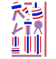 Set of Banner and Ribbon of Thai Flag vector