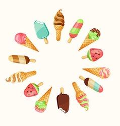 Set of tasty ice cream vector