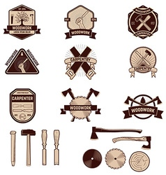 Set of the carpentry labels and emblems woodworks vector