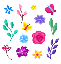 set spring flowers beautiful decorative vector image