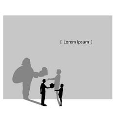 silhouette man giving boy a gift box vector image vector image