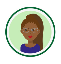 Smiling girl face with long pony tail and glasses vector