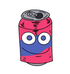 Soda can character cartoon hand drawn image vector