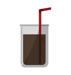 Soda cup with straw cartoon vector