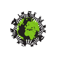 some hands holding earth togheter people vector image