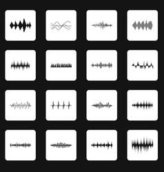 Sound wave icons set squares vector