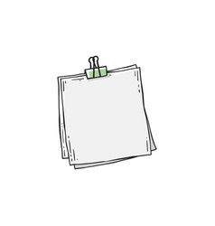 square paper sheets joined binder clipper vector image