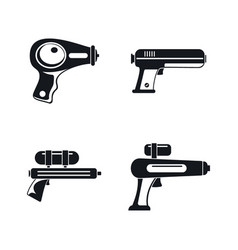 squirt gun water pistol icons set simple style vector image