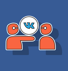 Sticker vkontakte icon on background vector
