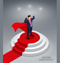 super hero stands on a round podium vector image