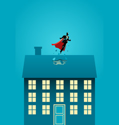 superhero businessman flying through the roof vector image