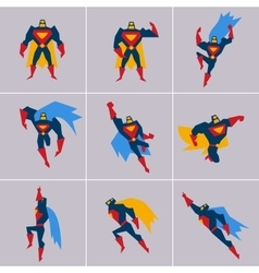 Superhero in Action Silhouette Different Poses vector image