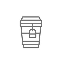 tea in disposable cardboard cup takeaway line vector image