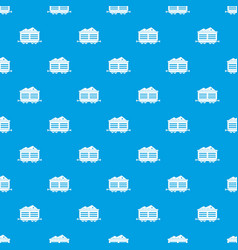 Train waggon with coal pattern seamless blue vector