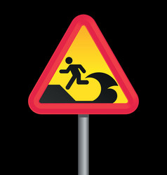 Tsunami warning sign vector