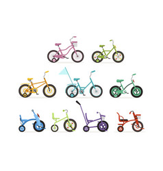 Various type kids bikes set colorful bicycles vector