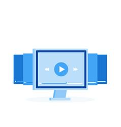 video tutorials icon concept online webinar vector image