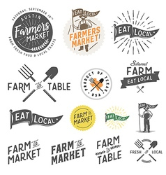 Vintage farm logos and design elements vector