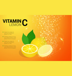 Vitamin c lemon soluble pills with lemon flavour vector